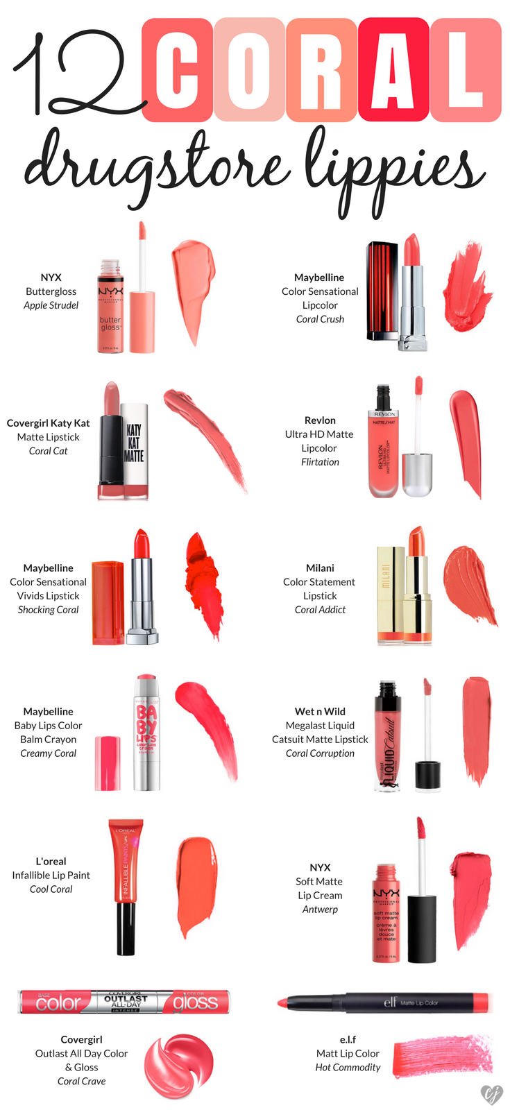 12 Coral Drugstore Lippies