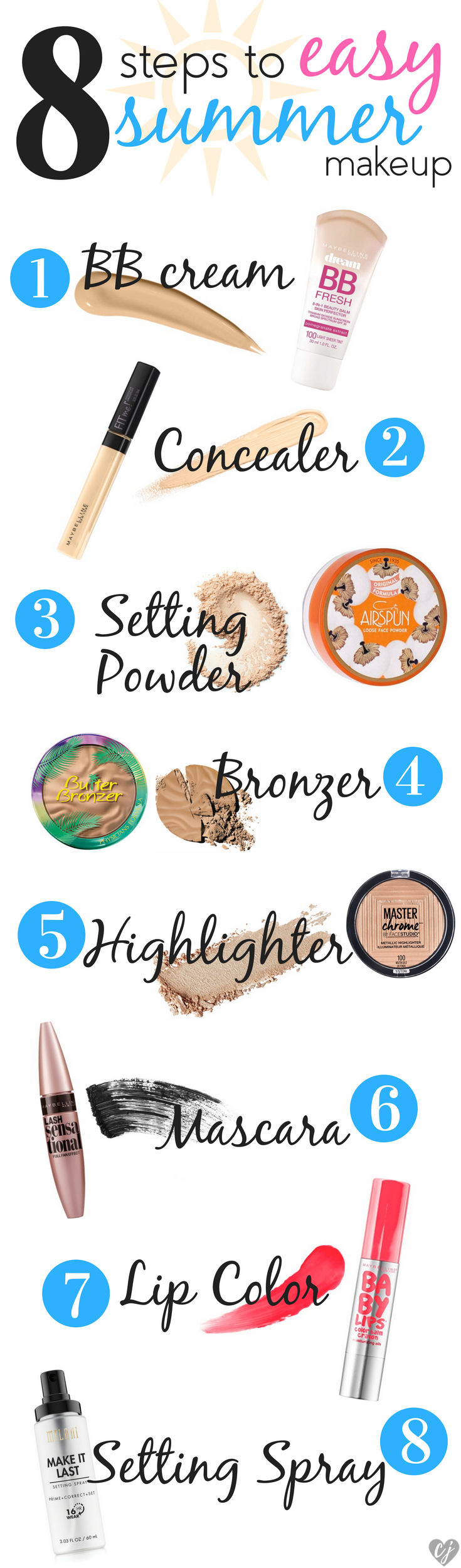 8 steps easy summer makeup