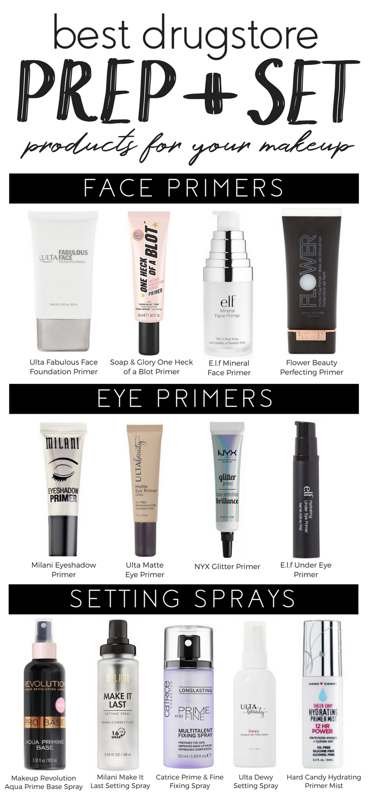 best drugstore prep + set products for your makeup