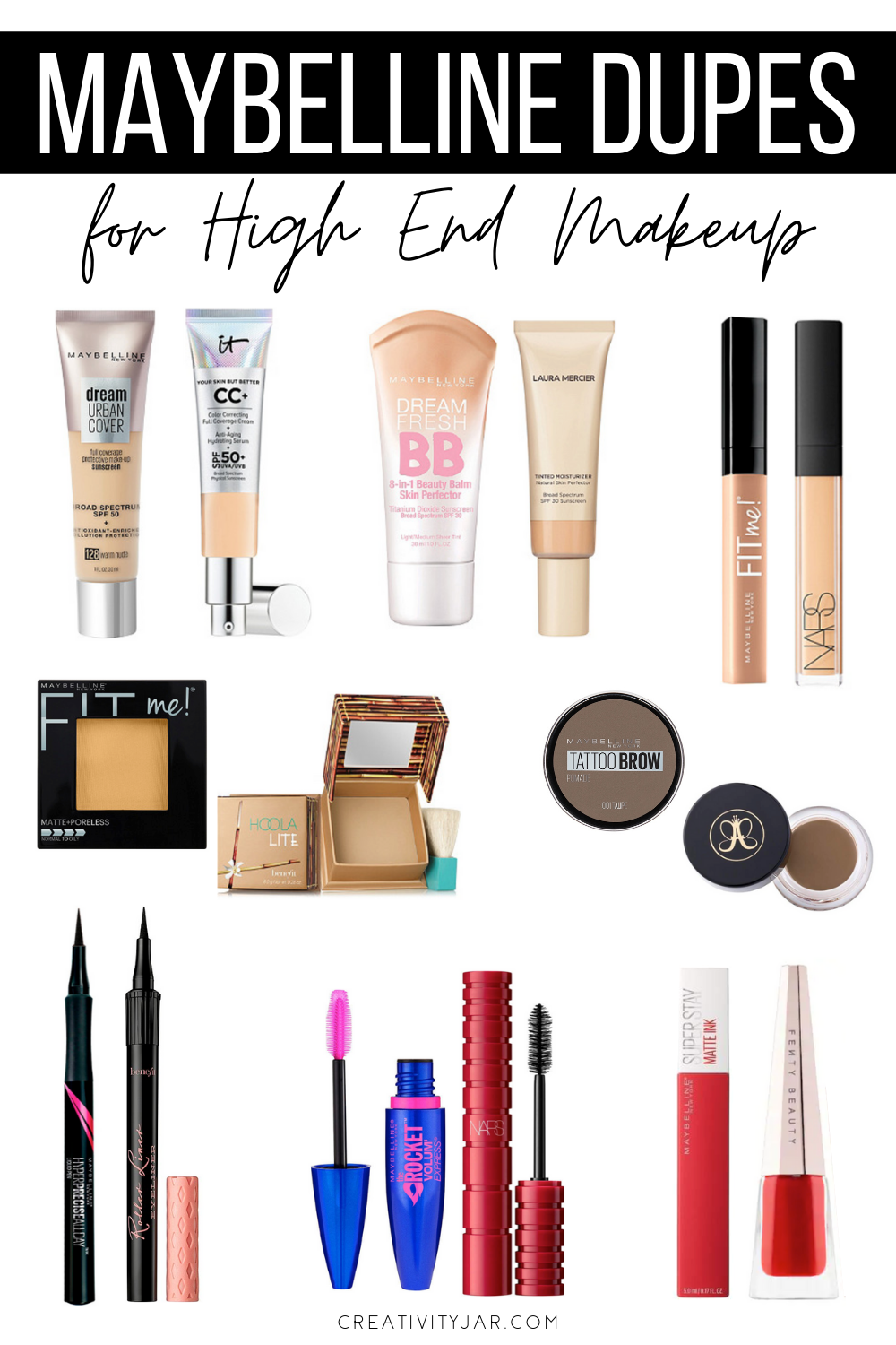 Best Maybelline Dupes For High End